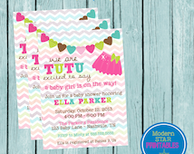 TuTu excited to say a baby girl is on the way! Super cute and girly baby shower invitation - YOU PRINT