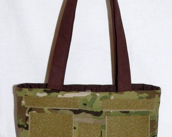 Mckayla Army Multicam purse with Brown Ribbon and Velcro Patches