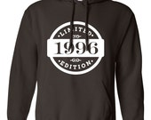 1996 Limited Edition 2016 Birthday Hoodie 20th Birthday Gift Mens Womens Ladies Hoodie Hooded Sweatshirt Sweater Unisex Modern Custom B-419
