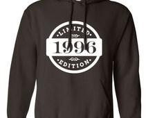 1996 Limited Edition 2015 Birthday Hoodie 19th Birthday Gift Mens Womens Ladies Hoodie Hooded Sweatshirt Sweater Unisex Modern Custom B-419