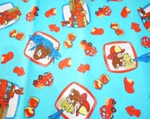 Curious George Playing with Fire Truck engine - Fat Quarter Fabric Cotton Print