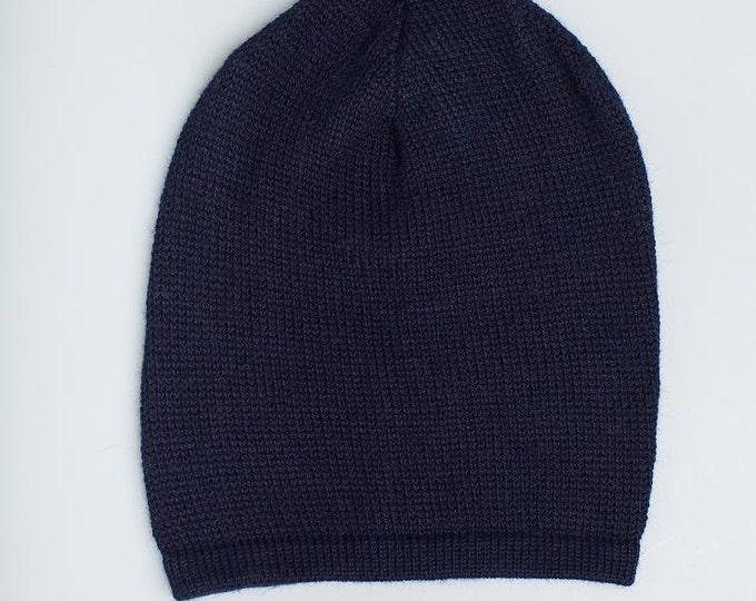 Slouchy hat // Kids navy hat / baby / children / alpaca wool slouchy beanie / over-sized dark blue hat / knit unisex hat