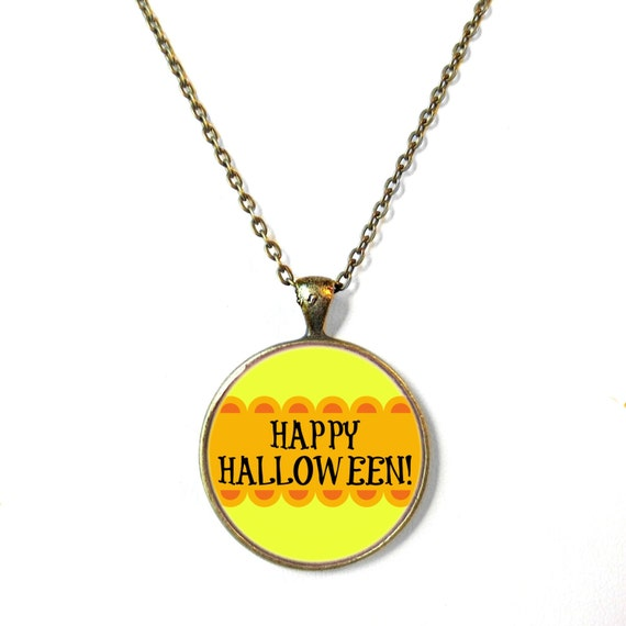 Orange and Black Halloween Jewelry, Halloween Necklace Festive Pumpkin ...