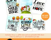 Instant Download! Printable Digital Journaling Cards for Project Life  | ARTSY 01 |  card making, quotes, graphic design