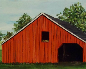 Red Barn Painting - Red Barn in the Field - Original Acrylic Painting on 6x12 canvas