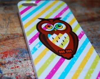 Bright Color Stripe Owl Print Case For iPhone 6 / (4.7) / 4.7 / 5c / 5s / 5 / 4s / 4 Hard Plastic Rigid Owls Cover Printed In USA c13