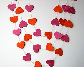 MA, Hot pink & orange heart garland, Pink orange heart garland, Birthday decor, Bridal shower decor, Paper garland, Wedding decor, KCO-0035