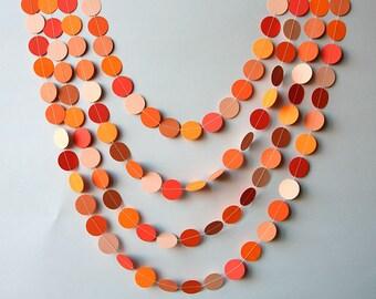Coral Paper garland - Orange Birthday Decorations - Salmon Circle garland - Photo props - Bridal shower decorations, Nursery, KC-1053