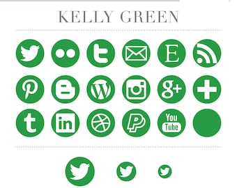 Social Media Icons - Simple Circles - Kelly Green - Instant Download