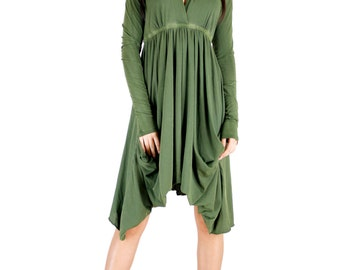 Olive Long Sleeve Grecian Goddess Pocket Dress