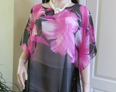 Coverup, Vibrant Purple  and Sheer Black Beach Coverup,  Sheer Black Swimsuit Coverup,  Black Tunic