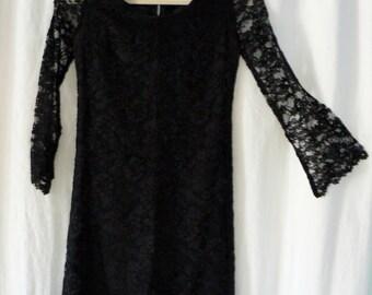 1960s Black lace mini dress