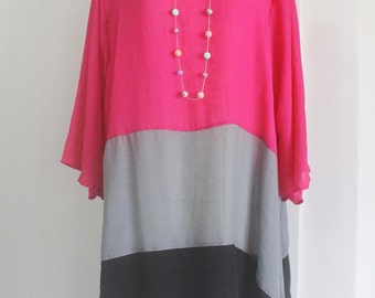 Block Colors Pink Gray Black Mixed Lagenlook Plus Size Tunic Top 2X