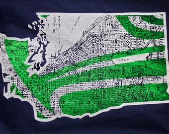 Seattle seahawks seattle map t shirt awesome vintage print for Seattle t shirt printing