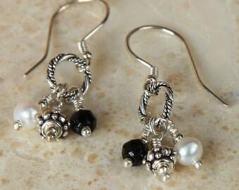 Onyx & Silver Dangle Earrings