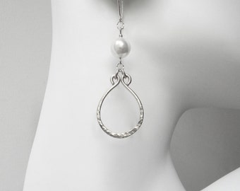 Sterling Silver Earrings Sterling Silver Pearl Earrings Hammered Hoop Earrings Drop Hoop Earrings Pearl Drop Earrings Pearl Hoop Earring