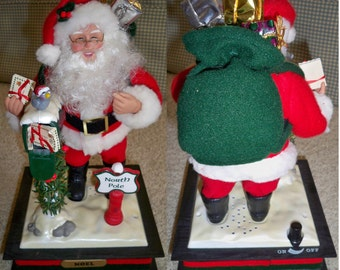 1993 Vintage Santa Claus Musical Figure by Holiday Creations - Holiday Scene GUC with Box and Instructions