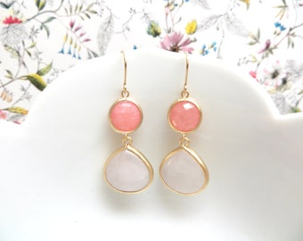 Blush Pink and Coral Bridesmaid Earrings Pink Earrings Coral Earrings Gold Earrings Pink Bridesmaid Rose Quartz Earring Pink Wedding Jewelry