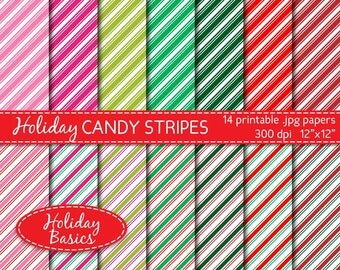 holiday digital paper, striped digital paper in Christmas red, green and pink, scrapbook supplies, commercial use DIGITAL DOWNLOAD DP-222