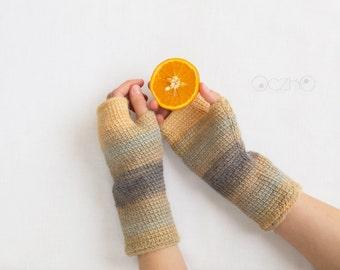 Crochet, fingerless hand warmers, gloves, coffee&milk mittens, size M