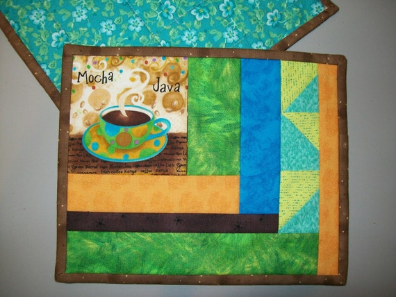 Coffee mug rug, mocha java mug mat in green, gold,blue, brown, and turquoise, snack and beverage mat