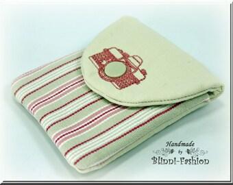 bag for camera accessories and lens cap, for camerastrap, vintage, light pink