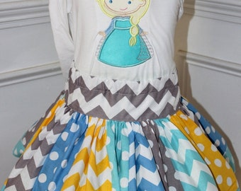 chevron skirt ONLY yellow aqua gray blue chevron and polkadot skirt birthday skirt girls skirt girl skirt toddler skirt Elsa Frozen