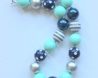 girls chunky necklace bubblegum bead necklace mint green gray and navy blue birthday necklace summer fall necklace  bubble gum necklace