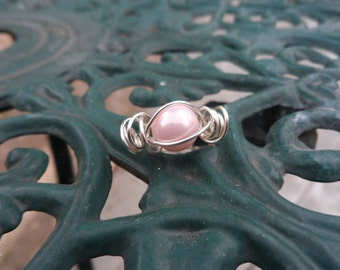 Silver Wire Wrapped Ring With Pink Shell Pearl