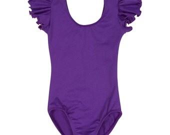 PURPLE Toddler & Girls Flutter / Ruffle Short Sleeve Leotard