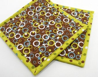 Fabric Hot Pads, Quilted Pot Holders - Chocolate Brown, Chartreuse Green, and Blue Circles and Dots Set of Two 8 Inch Cotton Potholders