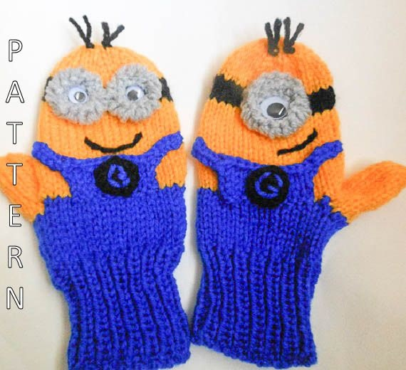 Knitting Pattern Minion Mittens animal mittens character