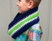 Seattle Seahawks Navy, Gray and Lime Green Crochet Infinity Scarf - Taking Orders
