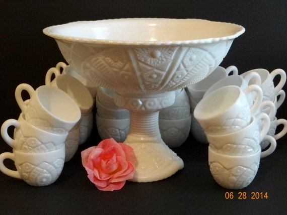 Vintage Milk Glass Punch Bowl Set McKee Glass Co. 29 Piece Set, Milk Glass Concord Pattern, Serving, Wedding, Bridal, White Milk Glass Set