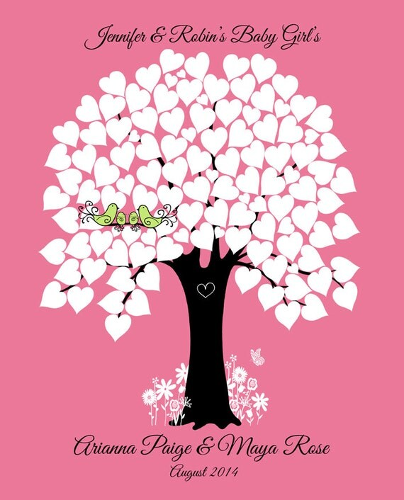 Baby shower guest book sign in tree guestbook alternative baby