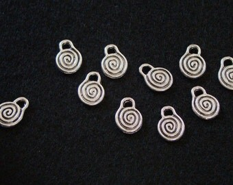 Ten Double Sided Swirl Accent Charms - Tibetan Silver