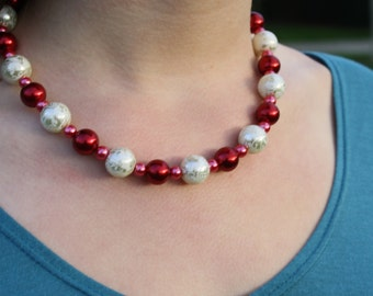 Red, Raspberry, and White Glass Pearl Necklace (8001)