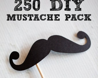 250 DIY Mustaches on Sticks // Mustache on a Stick // Wedding Photobooth Props