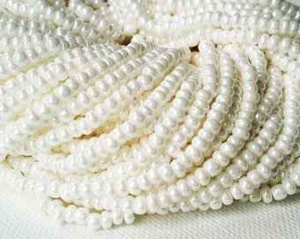 FULL HANK - 12 stands - Opaque pearly white luster Czech glass 8/0 seed beads - about 72 grams (approx. 2900 beads)