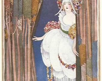 Vogue magazine cover 1919 Art Deco by George Plank Lady Stage Shepherdess original reprint 1984