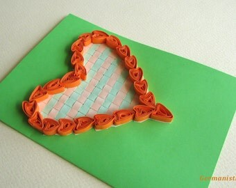Love Heart Quilling Card, Valentine's Day Card, Heart Greeting Card, I love you card, Heart Card