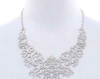Silver statement necklace, silver bib necklace, silver baroque necklace
