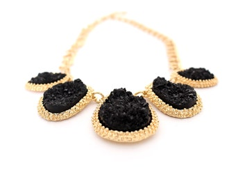 Black statement necklace, black bib necklace