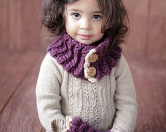 Easy CROCHET PATTERN Girl Toddler Cowl and Muff The Violet  Cowl Crochet Pattern Christmas From the Danica Collection 2 sizes,
