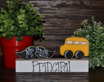 Personalized Principal Name Plate Gift Personalized Teacher Gift Back to School Gift Secretary Gift Administrator Name Plaque End of School