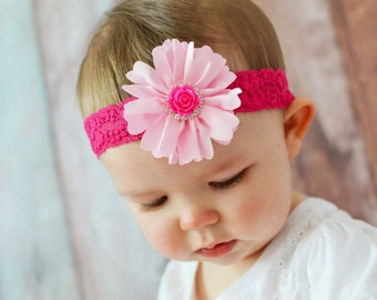Pink Flower Headband, Hot Pink Flower Headband, Newborn Headband, Photo Prop, Toddler Headband, Teen Headband, Infant Headband, Adult