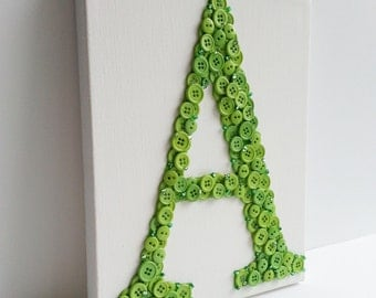 Button Letter, Monogram, Canvas, 8x10