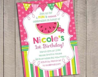 Pink Watermelon Invitation Watermelon Invite Watermelon