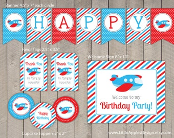 Plane Birthday Package / Plane Birthday Pack / Plane Decoration / Plane Printable / Plane Favor Tags / Plane Cupcake topper / Plane label