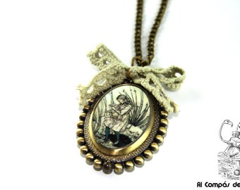 Alice in Wonderland watch pendant, pocket watch, antique gold, with chain and bow